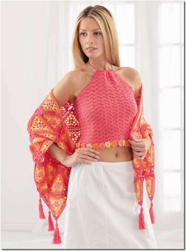 Crocheted-halter-top-and-shawl