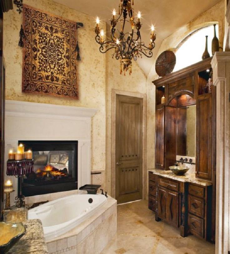 Top 10 unique bathroom design ideas top inspired for Fireplaces bath