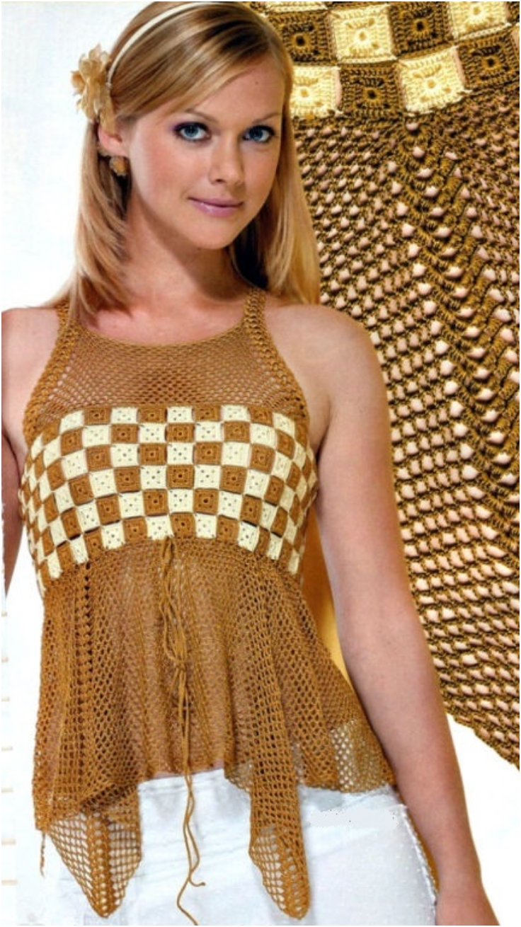 Tunic-Top-With-Crocheted-Squares