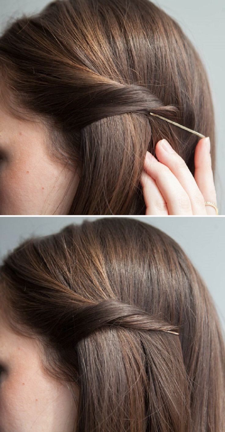 Twist your hair, and slip your bobby pin underneath to secretly pin