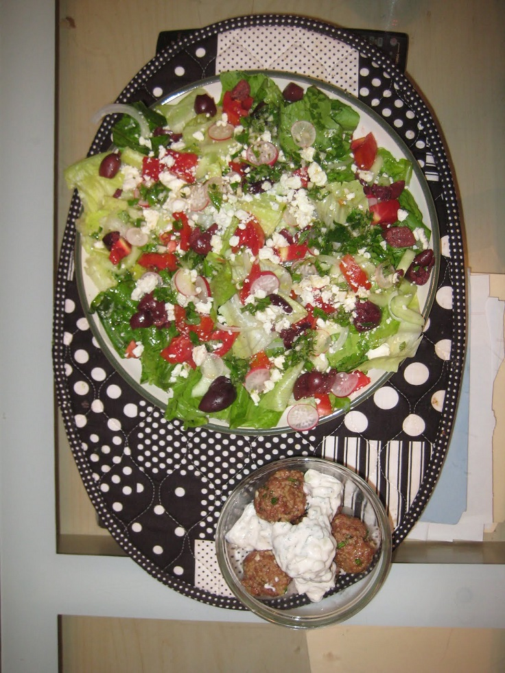 greek salad and lamb meatballs
