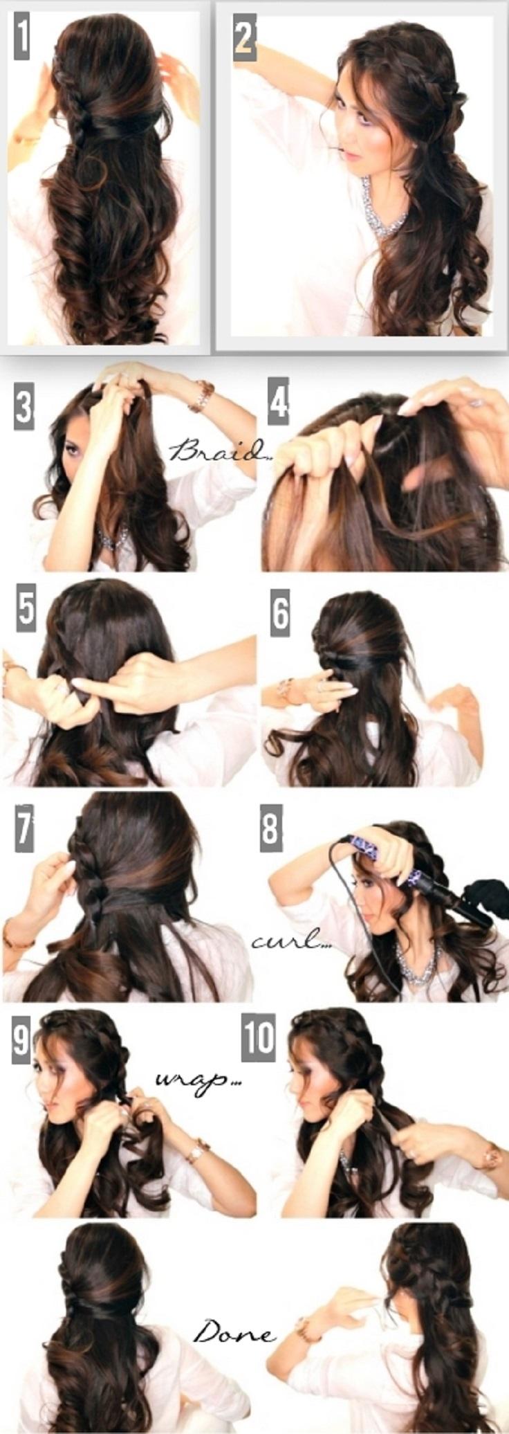 Простая вечерняя прическа на длинные волосы пошагово фото