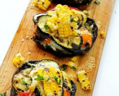 Cedar Planked Grilled Portobellos Stuffed with Summer Veggies