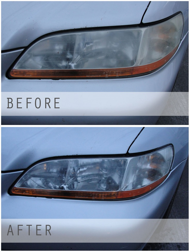 how to clean foggy headlights inside