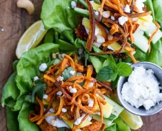 Curried Salmon Burger Lettuce Wraps with Crispy Sweet Potato Straws and Goat cheese