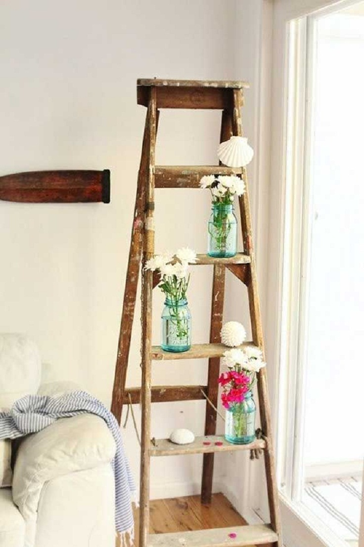 Top 10 Creative Ways To Decorate With Vintage Ladders