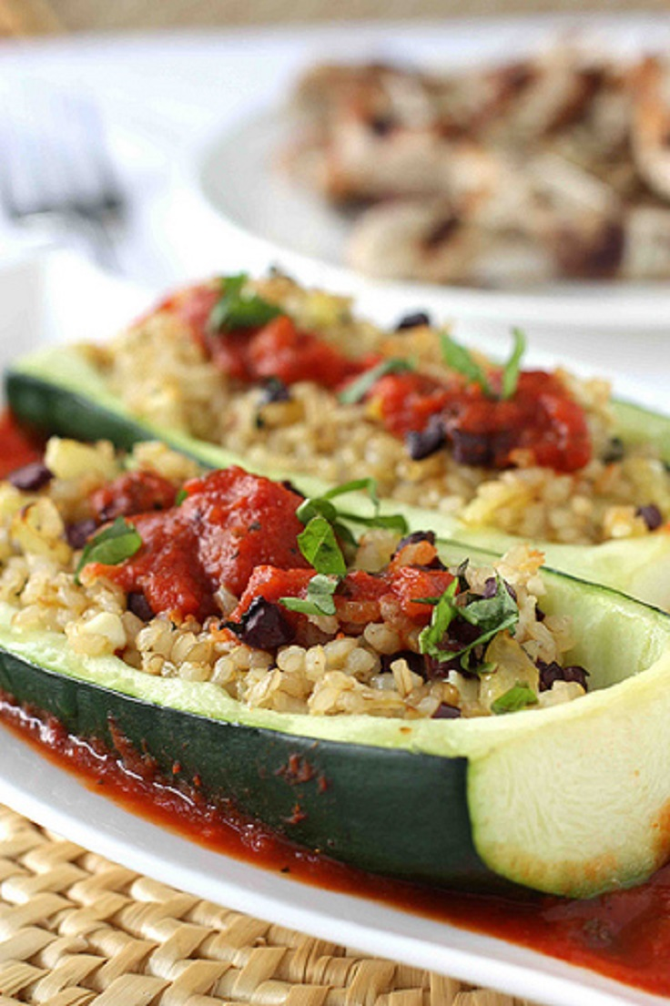 Greek Stuffed Zucchini with Rice, Kalamata Olives Tomato Sauce Recipe