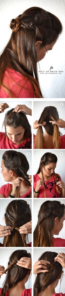 Half Up Braided Bun