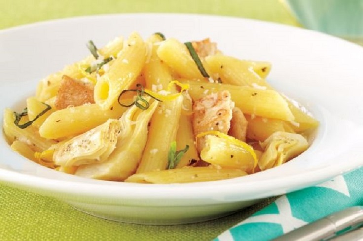 Lemony-Penne-With-Chicken-and-Artichokes