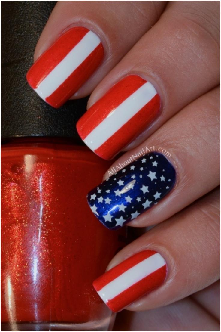 Top 10 fantastic american flag nail art tutorials top for 4th of july nail art decoration flag