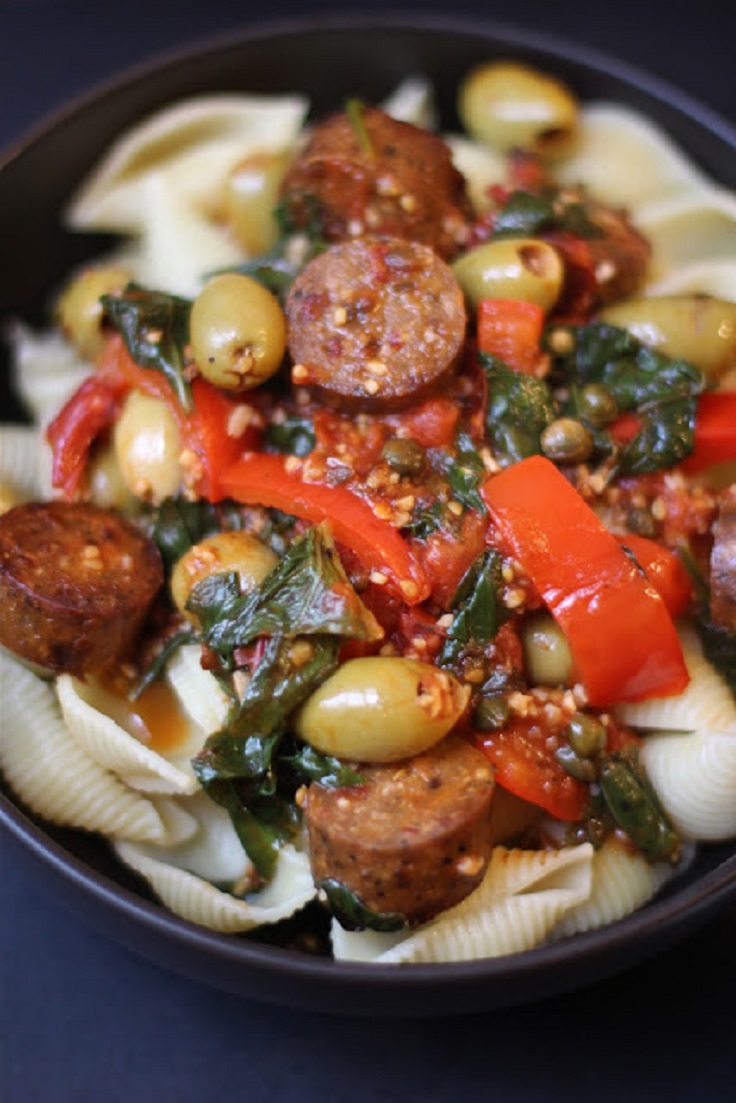 Pasta-alla-Puttanesca-with-Vegan-Sausage
