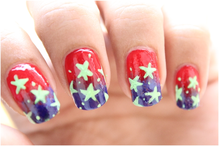Top 10 fantastic american flag nail art tutorials top inspired red and blue gradient nails with white stars solutioingenieria Images