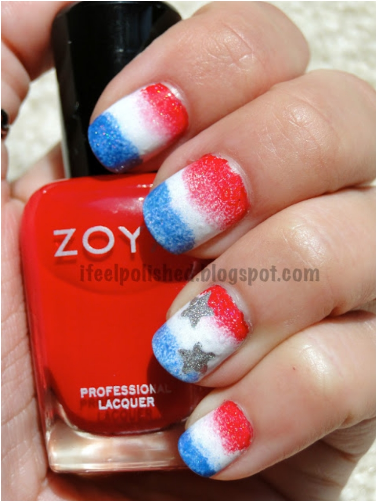 Sponged-Red-White-And-Blue-Nails