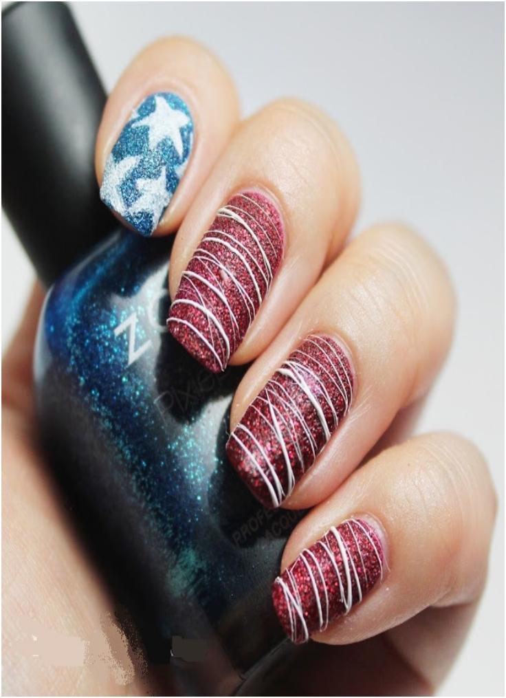 Textured American Flag Nail Art - Top 10 Fantastic American Flag Nail Art Tutorials - Top Inspired