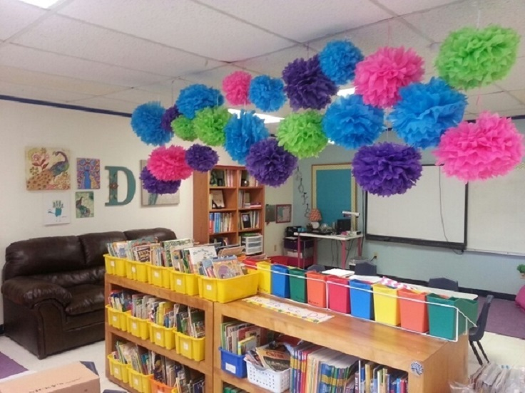 Truffula-flower-pom-poms-as-ceiling-decorations.