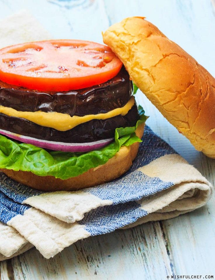 Eggplant-Hummus-Veggie-Burgers