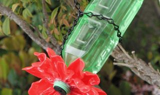 Plastic Spoon & Bottle Hummingbird Feeder