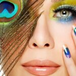 peacock nails and makeup