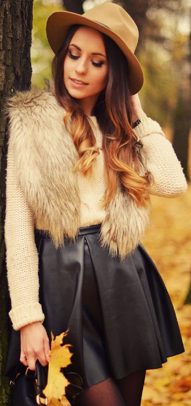 Top 10 Totally Trendy Ways to Wear Leather Shorts and Skirts in Autumn | Top Inspired
