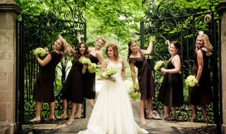 Chocolate Brown Below the Knee Bridesmaid Dresses