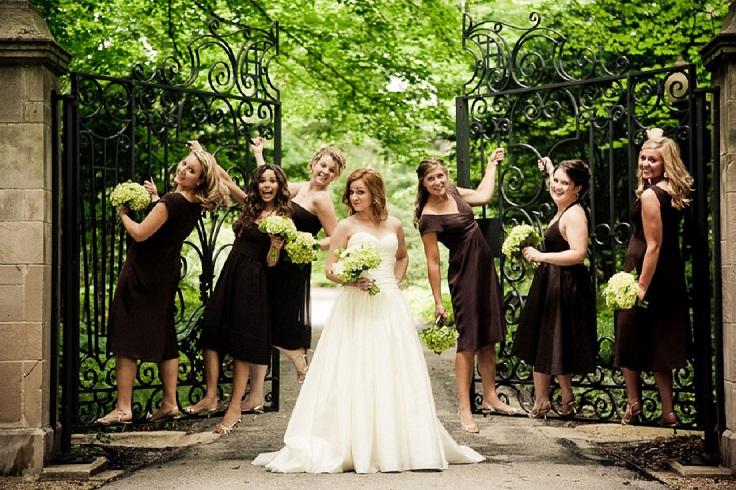 Chocolate-Brown-Below-the-Knee-Bridesmaid-Dresses1