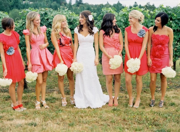 Mismatched-Coral-Knee-Bridesmaid-Dresses1