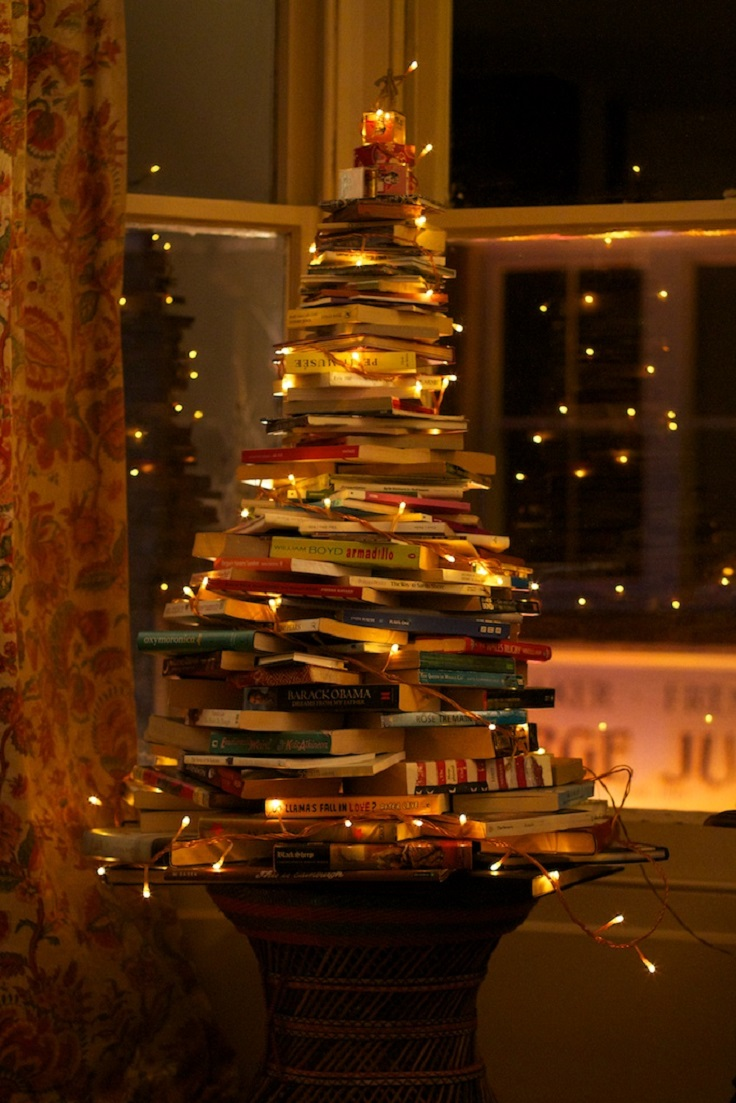 Top 10 ideas for reusing old books top inspired for Christmas tree made from old books