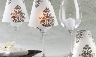 wine glass and candle lamp