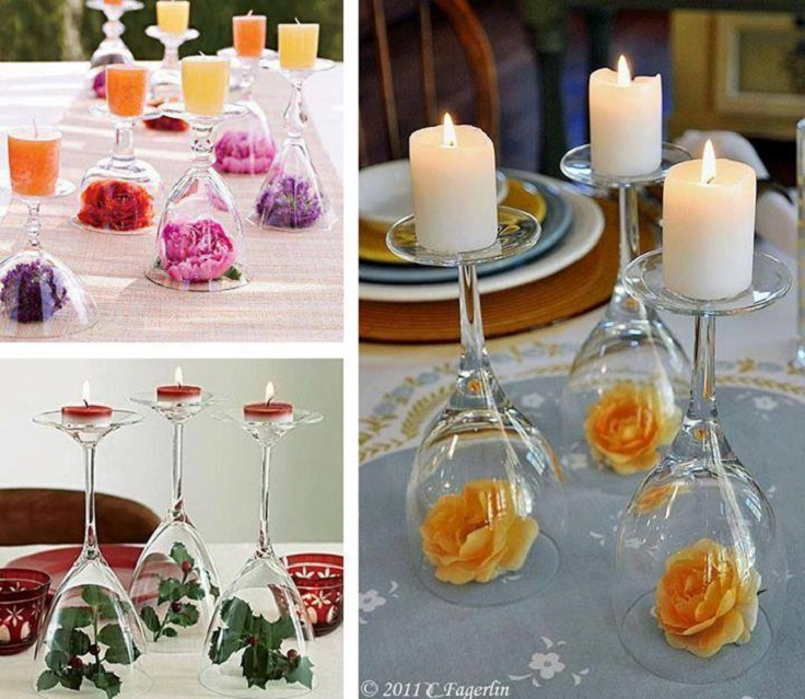 Top 10 diy decorations for your wine glass top inspired for Centerpieces made with wine glasses