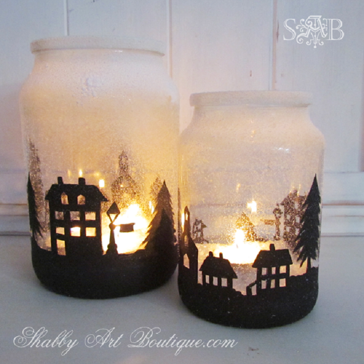 Top 10 diy christmas mason jar crafts top inspired for How to make christmas candle holders