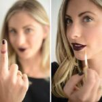 finger in mouth for lipstick