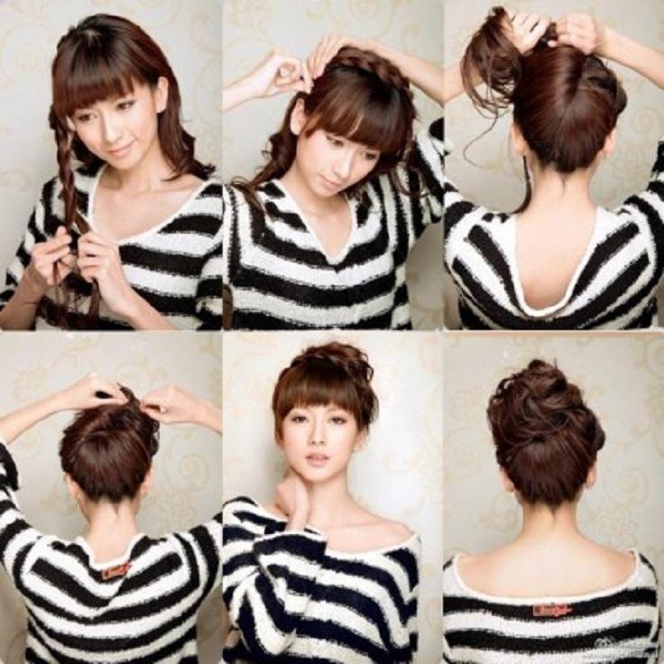 bun-with-a-braid-wet-hair