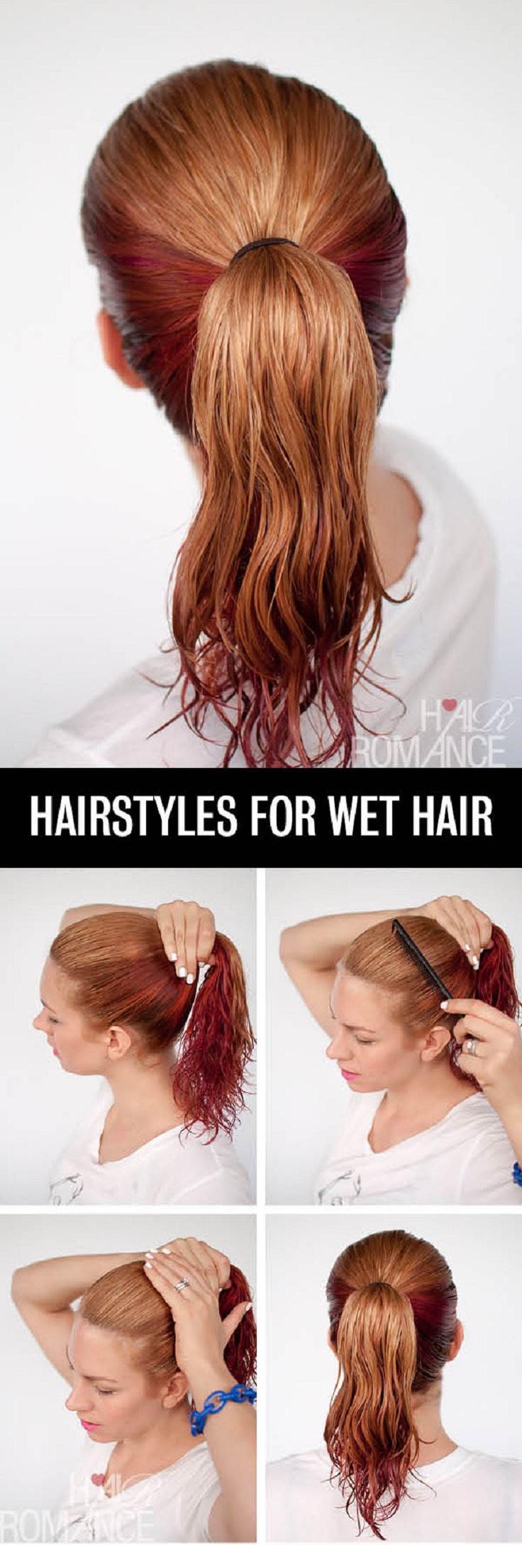 high-ponytail-wet-hair