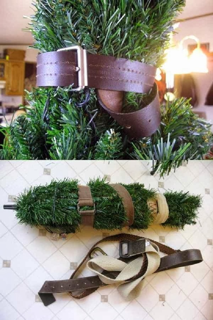 Pack Christmas Tree Using Belt