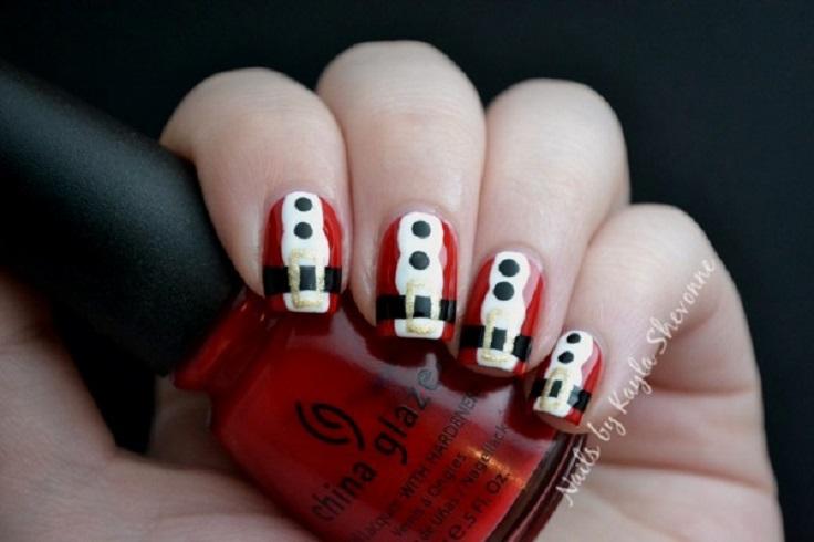 santas-suit-nail-art
