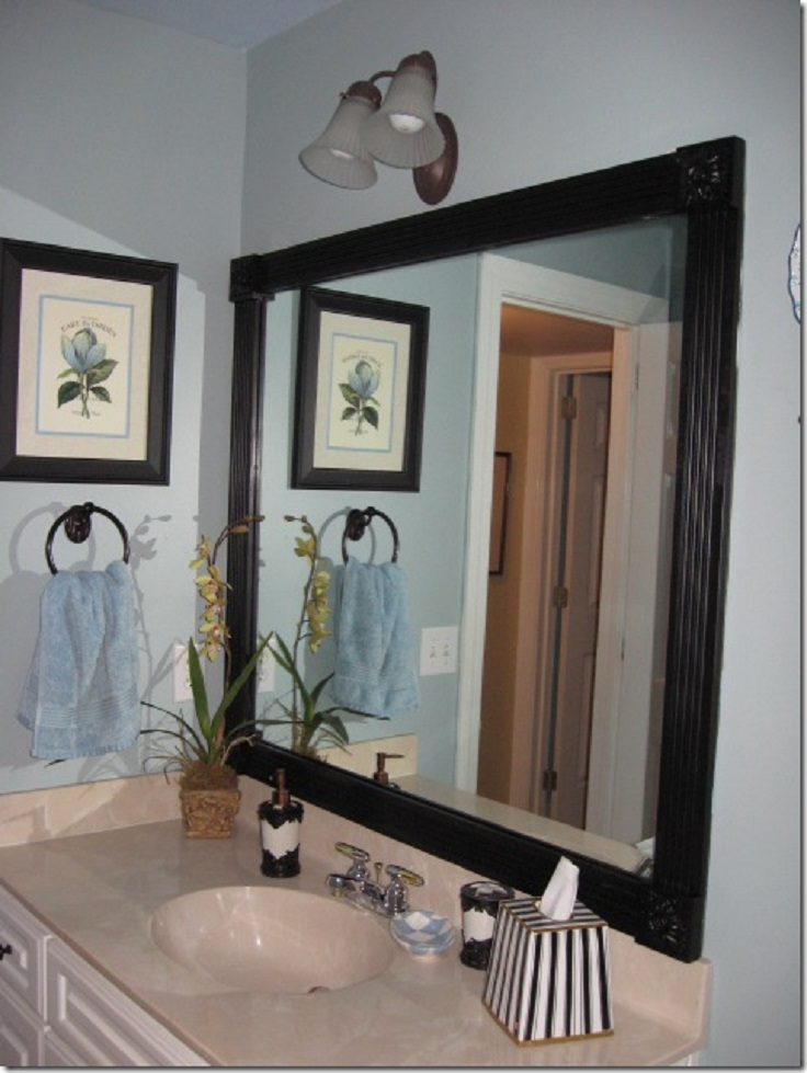 Framing a bathroom mirror with moulding