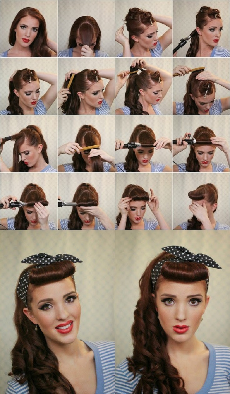 how to curl your hair 50s style bandana hairstyles top 10 simple ways tutorials top 3135 | retro hairstyle