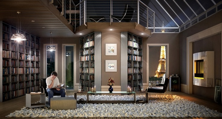 Home Library Design Ideas home library in living room Top 10 Inspiring Home Library Design Ideas