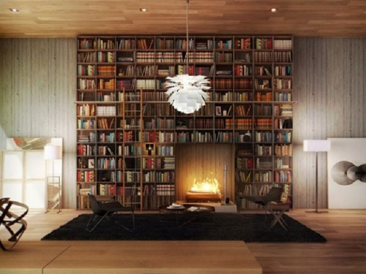 4-Home-Library-with-an-integrated-fireplace