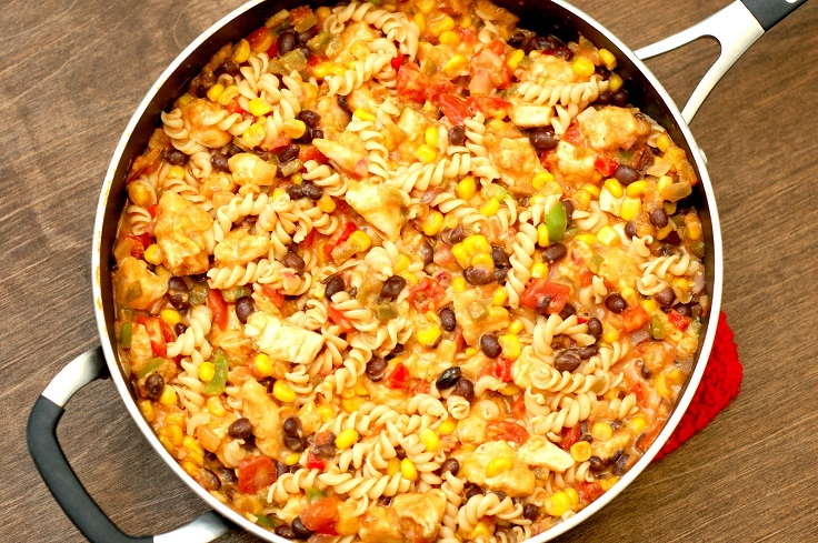 cheesy-salsa-chicken-pasta-skillet