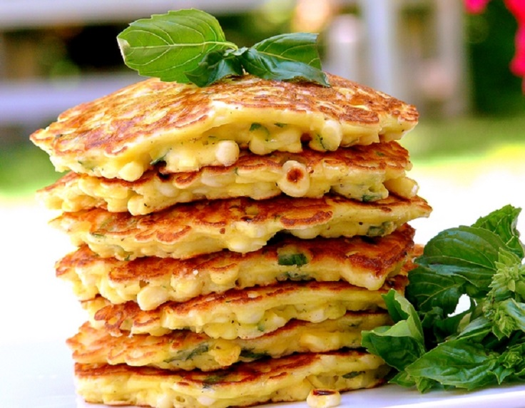 corn-and-basil-cakes
