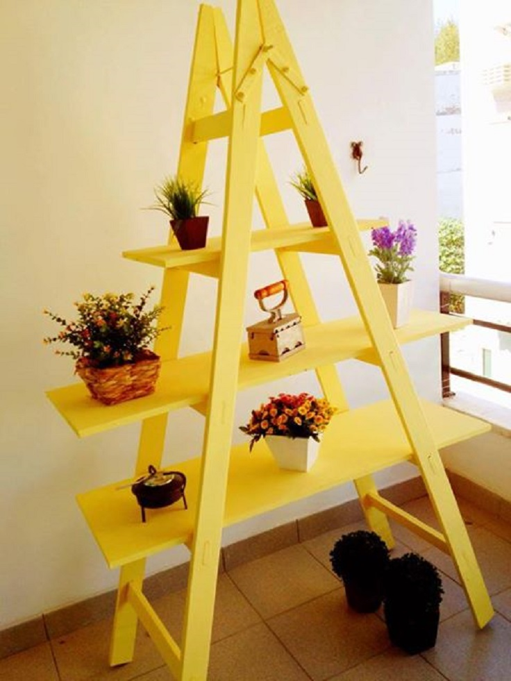 diy-ladder-shelf-balcony-flower-stand-bright-yellow