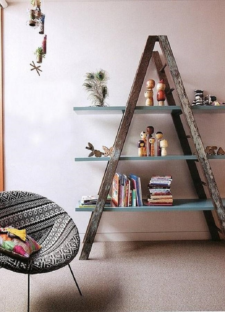 diy-shelf-ideas-wooden-ladder