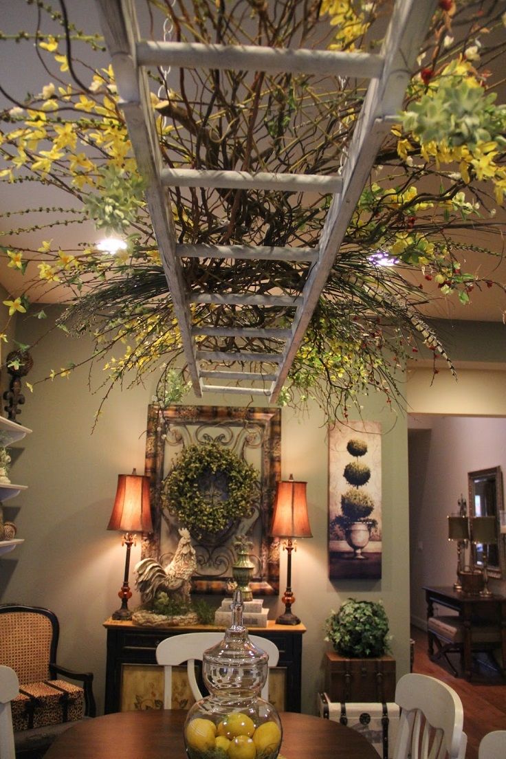 How to hang a decorative ladder from the ceiling hbm blog for Best home decor blogs 2015