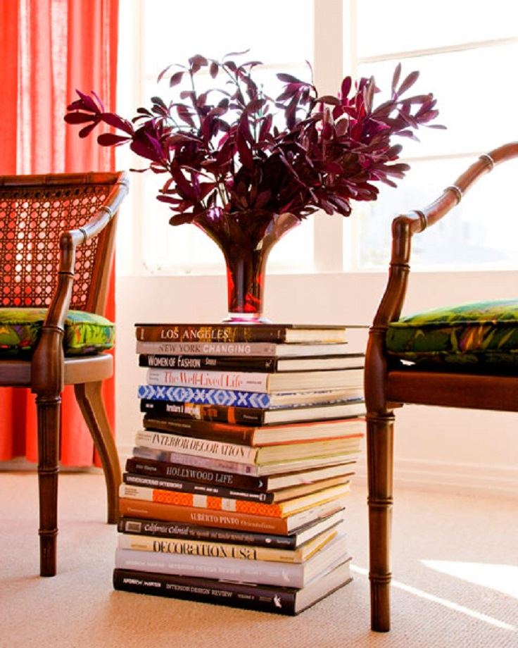 9-No-Cost_DIY-Home_Decor-Stack-Books-Side-Table