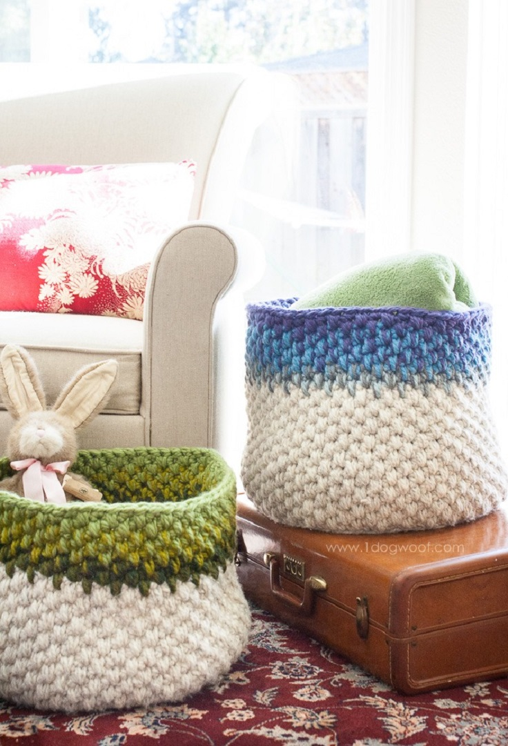 Color-block-crochet-basket