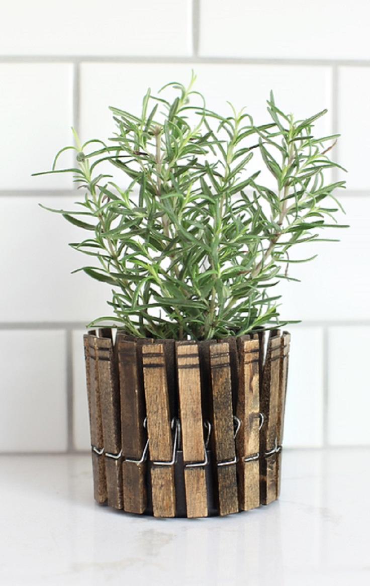 DIY-Clothespin-Herb-Planters