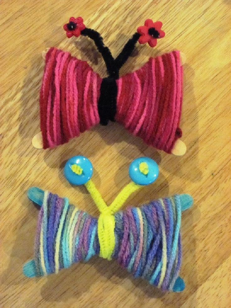 spring crafts activities craft yarn projects butterflies colorful cute gummylump wool diy fun take toddlers easy children ages project childrens