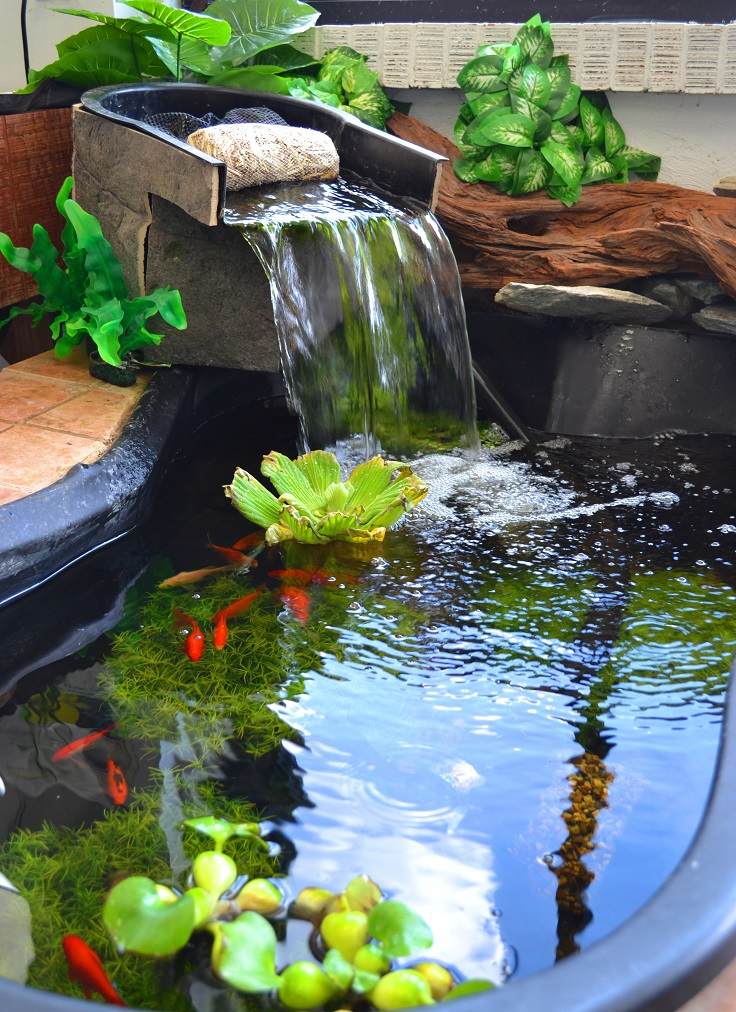 Top 10 garden aquarium and pond ideas to decorate your for Aquarium waterfall decoration