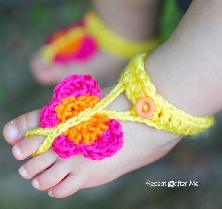 Crochet-Butterfly-Barefoot-Sandals